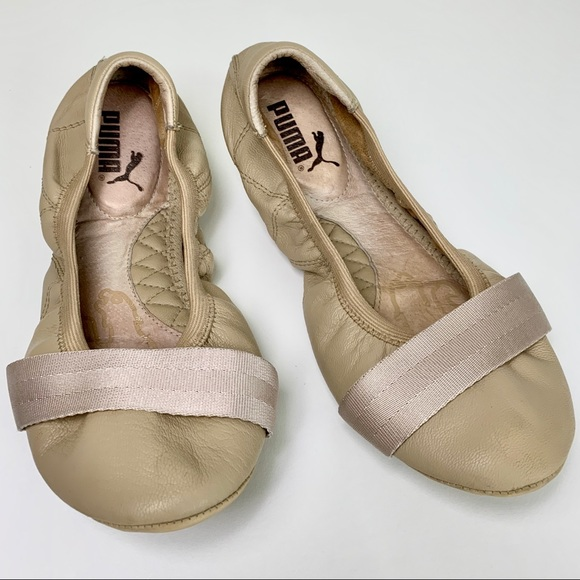 Puma Travel Ballerina Womens Leather Ballet Pumps Slip On Shoes Satin Bow Beige